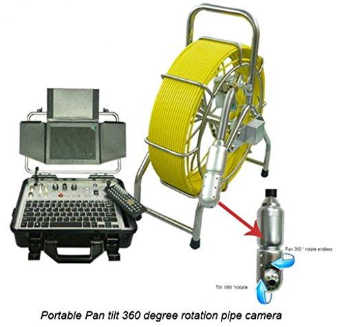 60m carrete de cable 360Degree rotación 50mm inoxidable stail Alcantarillado drenaje Pipeline cámara de inspección con HD DVR función de grabación