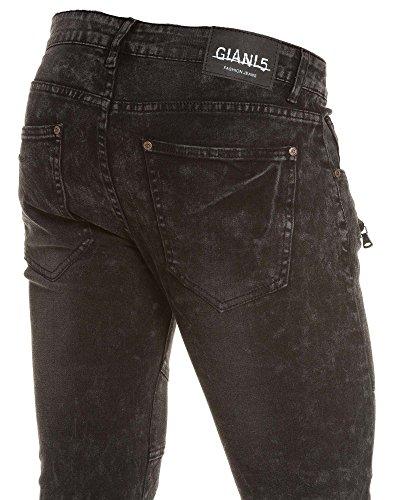 BLZ jeans - Jean homme noir mode zips et coutures Noir