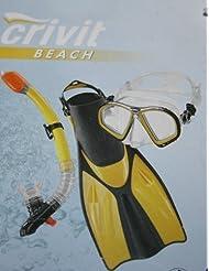 Crivit - Juego de buceo profesional (talla 42-46), color amarillo y negro