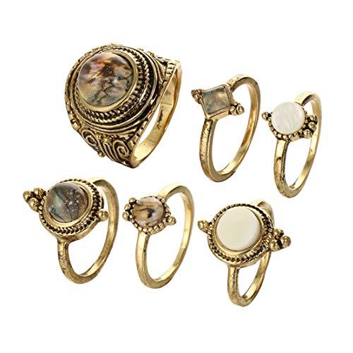 Kissherely 6 Stücke Frauen Boho Knuckle Ring Set Alte Bronze Farbe Vintage Stein Teardrop Fingerringe für Frauen Partei Schmuck - Bronze Ring