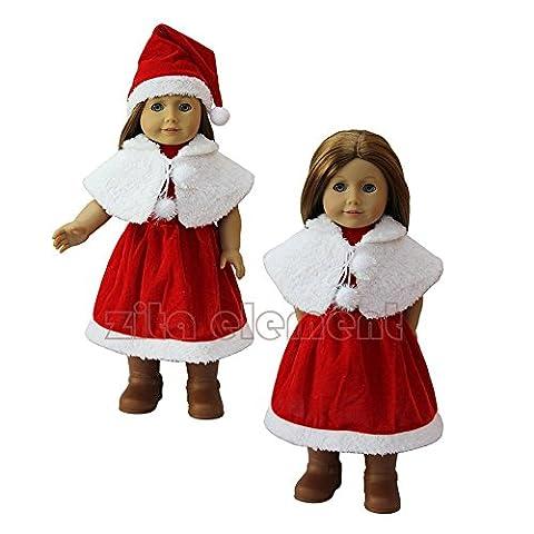 ZITA ELEMENT 1 SET of 3 PCS Santa Party Kleid Geschenk Kostüme Kleider passt für 18 Zoll American Girl Doll 45-46 cm Götz Puppe Kleidung für Xmas Gift