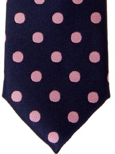 Retreez Cravate fin classique en microfibre tissée à pois–Différentes couleurs Rose - Navy Blue with Pink Dots