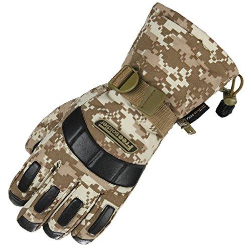 FREE SOLDIER Herren Winter Outdoor Ski-Handschuhe Wasserdichte Vollfinger Handschuhe Verdicken Rutschfeste Leder Snowboard Taktische Handschuhe (XL, Desert Digital)