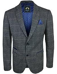 Marc Darcy SCOTT - Mens Multi Tonal Check Tweed Blazer In Grey Various Sizes