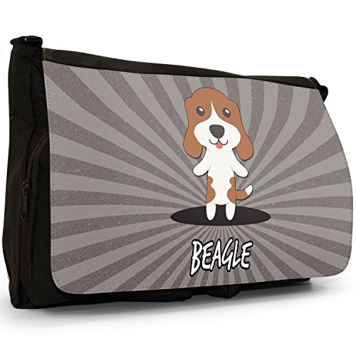 English Cartoon cani grande borsa a tracolla Messenger Tela Nera, scuola/Borsa Per Laptop Beagle, English Beagle