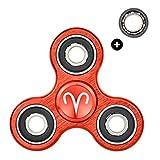 HIZOON - Hand Spinner Juguete Sensorial Fidget Toy Personalizable *Constelaciones del Zodiaco* Alivia Estrés Tensión y Ansiedad para TDAH TDA Autismo | Rodamiento de Repuesto | Aleación de Aluminio (Aries Rojo)