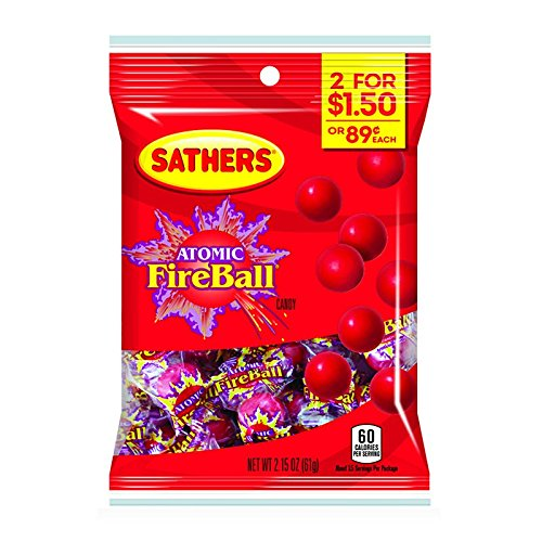 Sathers Atomic Fireball Candy 3 x 61g/2.15oz Bags - American Fire Balls (Sathers Candy)