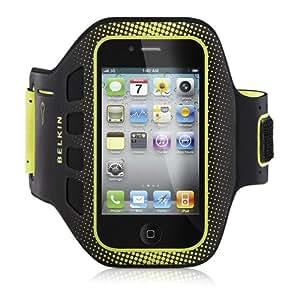 Belkin F8Z894cwC00 Fascia da braccio sportive EaseFit per iPhone 4/4S, nero e giallo, tasca portachiavi, protezione schermo, cintura regolabile
