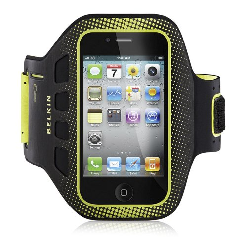 Belkin EasyFit Sportsarmband für Apple iPhone 4/4S schwarz/gelb (Iphone Workout-armband Für 4)
