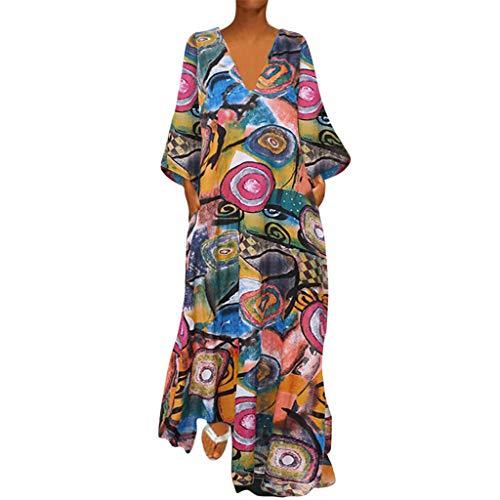 Auf Kostüm Verkauf - Zottom Langärmliges Kleid im Ethno-Stil Plus Size Frauen Vintage V-Ausschnitt Ethnische Printed Long Sleeves Casual Maxi-Kleid