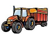plot4u Bunter Trecker mit Anhänger Wandtattoo Digitaldruck Traktor in 4 Größen (30x18,4cm Mehrfarbig)