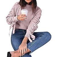 Damen Pullover Sweatshirt Ronamick O–Ausschnitt Bandage Gestickte Langarm Casual Warm Stricken Strickpulli Strickjacke Strickpullover