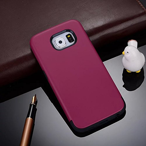 YHUISEN Galaxy S6 Edge Case, 2 In 1 PC + TPU Dual Layer Armor Hybrid Schutz Schock Absorption Hard Back Cover Fall für Samsung Galaxy S6 Edge ( Color : Gray Red ) Rose