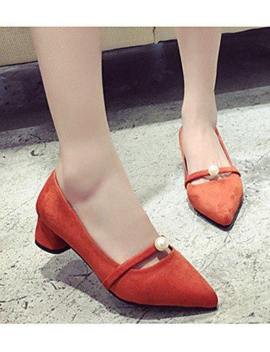 WSS 2016 Chaussures Femme-Décontracté-Noir / Gris / Orange-Talon Bas-Talons-Chaussures à Talons-Laine synthétique black-us5.5 / eu36 / uk3.5 / cn35