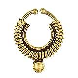 Chic-Net Septum Piercing anelli di naso finto spirale nichel oro primavera sfera in ottone libero orecchino esotico antico