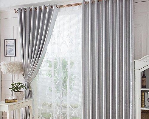 HZH-HZH-Cortina Parasol Cortina Dormitorio Sala de Aislamiento acústico (2pcs),Plateadas,3 de Ancho x2,7 Hight