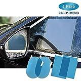 FMS 4 Pcs Ovale e Rettangolo Pellicola auto impermeabile specchietto retrovisore pellicola antiappannamento Anti-abbagliamento Anti nebbia Anti-graffio Impermeabile antipioggia (Ovale*2+Rettangolo*2)