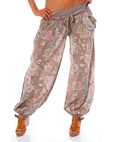 Moda Italy Damen Haremshose Pumphose Ballonhose Pluderhose Yogahose Aladinhose Harem Sommerhose mit Stoffgürtel Flower-Print, One Size Gr.36-42, Cappuccino