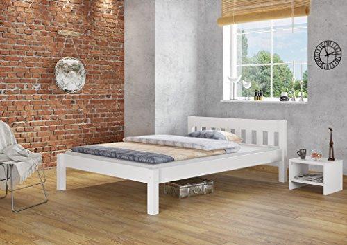 Erst-Holz® Doppelbett 160×200 Futonbett Ehebett weiß Kiefer Massivholzbett Rollrost 60.38-16 W