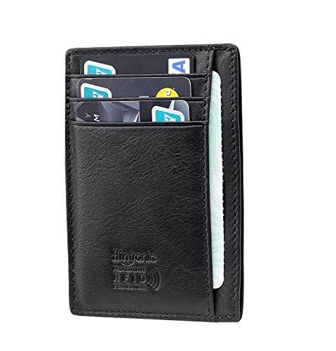 flintronic ® Kreditkartenetui Echtem Leder Klein, RFID-Schutz Visitenkartenetui Leder mit Münzfach/Kleingeldfach, Kleiner Dünner Praktischer Geldbeutel, Portemonnaie Mit Geschenkbox