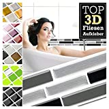 Grandora 5 Stück 27,9 x 4,3 cm schwarz grau Silber Ziegel Fliesenaufkleber Design 28 I 3D Mosaik Fliesenfolie Küche Bad Wandaufkleber Fliesensticker Fliesendekor W5423