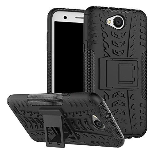 Sunrive Hülle Für LG X Power2, Tasche Schutzhülle Etui Case Cover Hybride Silikon Stoßfest Handyhülle Hüllen Zwei-Schichte Armor Design schlagfesten Ständer Slim Fall(schwarz)