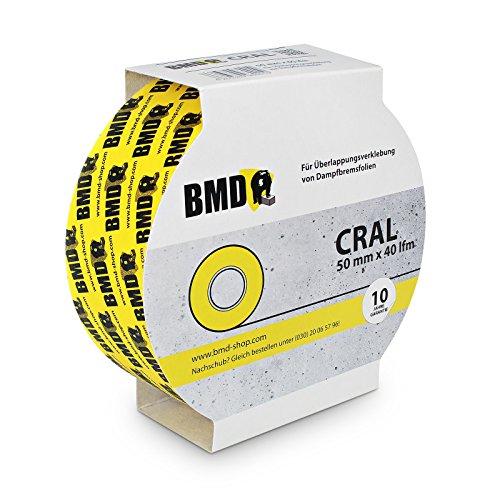 5x BMD - cral Hochleistungsklebeband (Gelb - 50mm x 40lfm) zur Verklebung von Dampfsperrfolie Dampfbremsfolie nach DIN Norm 4108 Teil 7 OSB Klebeband
