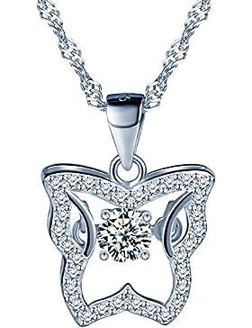 Yumilok 925 Sterling Silber Zirkonia Hohler Schmetterling Anhänger Halskette Kette mit Anhänger für Damen Mädchen
