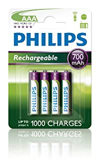 Philips R03B4A70/10 - Pack de 4 Pilas Recargables (NiMh, AAA) (B000L0GSDC) | Amazon price tracker / tracking, Amazon price history charts, Amazon price watches, Amazon price drop alerts