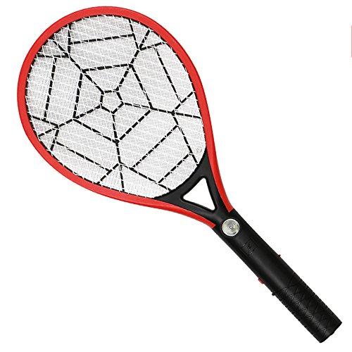 Xmcz Elektrische Fliegenklatsche Fliegenfänger ABS Wiederaufladbar mit LED 3-lagiges Sicherheitsnetz Insektenvernichter Physischer Mückenkiller (Rot)