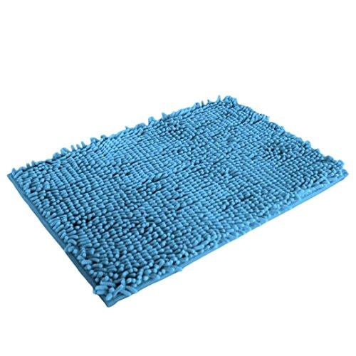 Alfombra de bano - SODIAL(R)Soft Shaggy antideslizante absorbente Alfombra de bano Bano Ducha estera 40*60cm (Lago azul)