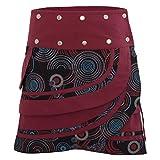 PUREWONDER Damen Wickelrock Baumwolle Rock mit Tasche sk181 Schwarz Einheitsgröße Verstellbar