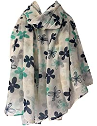 Purple Possum Cream Scarf Mint Green Navy Blue Floral Print, Ladies Flowers Wrap Flower Shawl