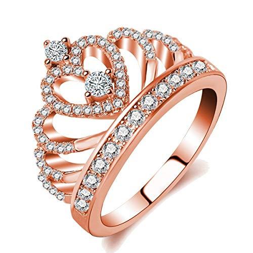 Shengdasm Damen Ehering Clown Iced Out CZ Diamanten Rose Gold Plated Kupfer Braut Ring (Color : Rose Gold, Größe : 5#) -