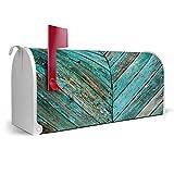 BANJADO US Mailbox | Amerikanischer Briefkasten 51x22x17cm | Letterbox Stahl weiß | mit Motiv Altes Holz Blau, Briefkasten:ohne Standfuß