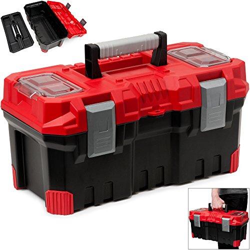 Werkzeugkasten leer ✔ Kunststoff ✔ Abschließbar ✔ Klickverschlüsse ✔ Antirutsch Griff ✔ viele Unterteilungen - Werkzeugkiste Werkzeugbox Werkzeugkoffer Montagekoffer