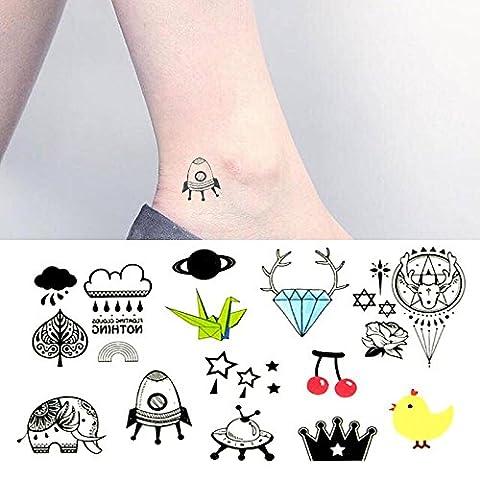 Oottati Petit Joli Tatouage Temporaire Diamond Elephant Chicken Rocket Alien Paper Crane (Set De 2)