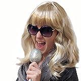 PARTY DISCOUNT ® Perücke Blond gesträhnt / mit Strähnen mit Pony, schulterlang, Party-Perücke, Karnevalsperücke