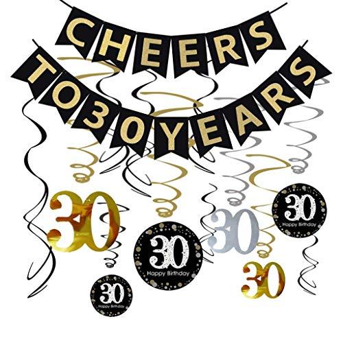 Formemory 30th Geburtstag Swirl Dekoration,Cheers to 30 Years Banner,Celebration 30 Hanging Swirls,Spiral Girlanden für Unisex Party
