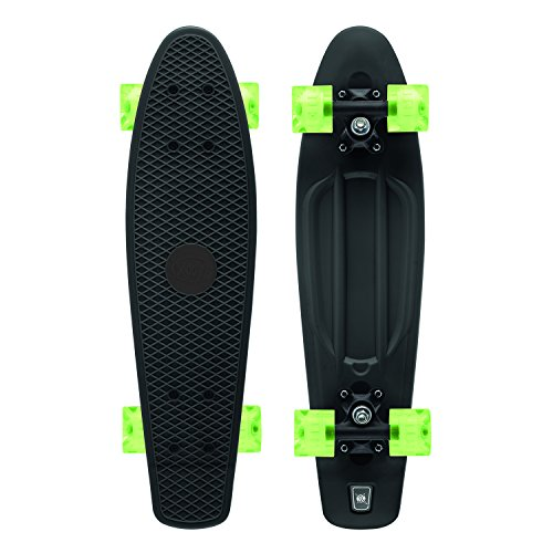 Xootz Retro-Kunststoff-Skateboard mit LED-Leuchtrollen, für Kinder, komplett, Kinder, Complete Retro Plastic, schwarz