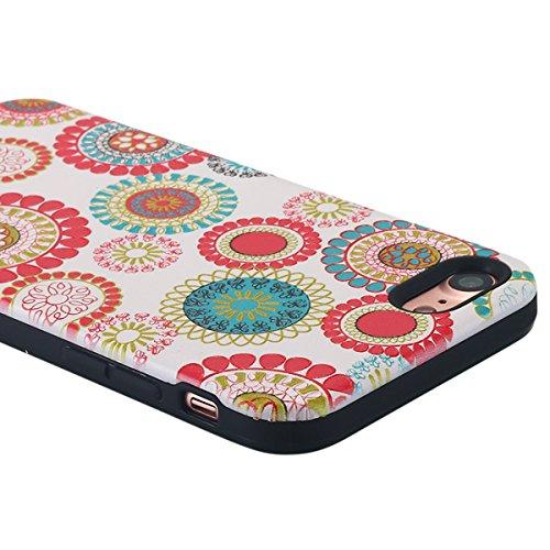 iPhone 7cellulare, iPhone 7Case, lontect fiori artificiali, sottile custodia protettiva rigida posteriore PC + TPU custodia morbida antiurto Case Cover Per Apple Iphone 74,7 Multi Color