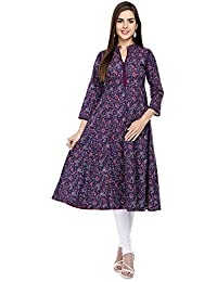 Tissu Cotton Block Printed Anarkali With Embroidery Work