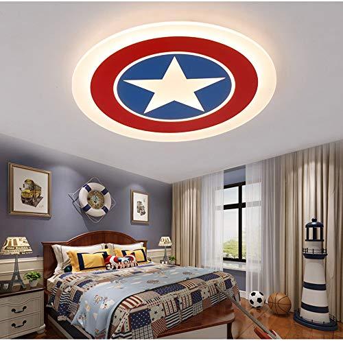 Cuarto De Niños Led Dormitorio De La Lámpara Regulable Con Las Lámparas De Jardín De Infancia Remota De Techo Lámpara De Control Creativo Pentagram Capitán América Modelado De Iluminación,52cm