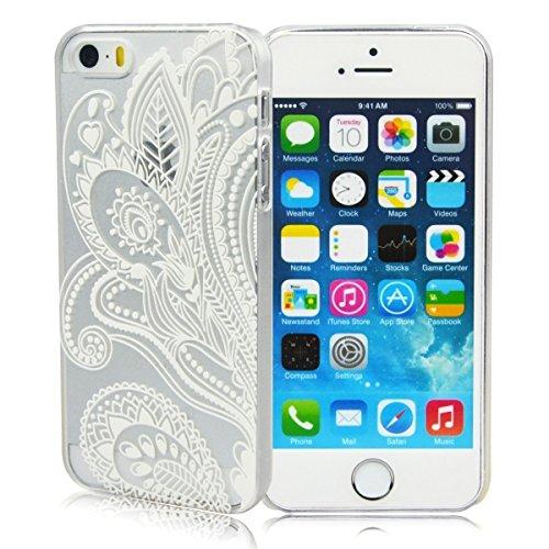 Darin Custodia Cover Case Ultra Slim Hard Plastica Custodia Protettiva Case Cover per Apple iPhone 5 5S - Henna White Floral Paisley Flower Mandala Z