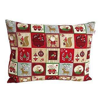 """Original TryPinky® Handmade Kissenbezug 30 X 40 cm"""" Weihnachtsmuster Rot Beige"""" Kissenhülle für Kissen Weihnachten Eichhörnchen Weihnachtsmann"""