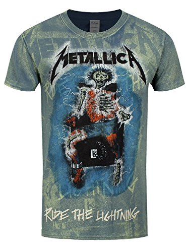 Unbekannt Metallica Ride The Lighting - Allover T-Shirt Blau XL (Metallica T-shirts Tour)