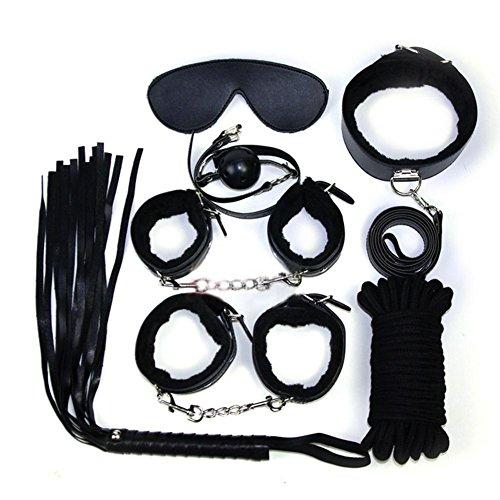 Restraint Set Premium PU Leder 7 Stk SM Fessel Set Peitsche Handschellen Augenbinde Gags Halsband Leine Halsband BDSM Set Sexspielzeug Bondage