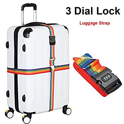Luggage Strap, Heavy Duty Cross Design Adjustable Packing Belts 4M/13FT Long Suitcase Bag Security Straps with 3-Dial Combination Lock - inexpensive UK light shop.