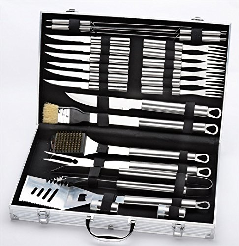 Holzsammlung 24 teilig Edelstahl Grillbesteck Barbeque im Aluminium-Koffer