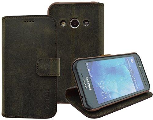 Samsung Galaxy Xcover 3 (SM-G388F) - Suncase Book-Style (Slim-Fit) Ledertasche Leder Tasche Handytasche Schutzhülle Case Hülle (mit Standfunktion und Kartenfach) antik braun